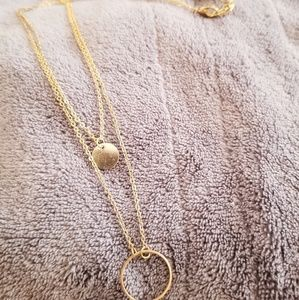Double layer gold tone necklace